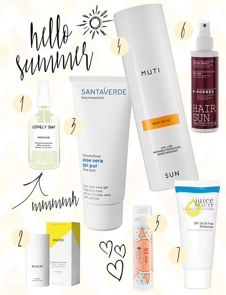 Naturkosmetik, Natural Beauty: Summer Essentials: Naturkosmetik-Sonnenpflege – Juice Beauty – Lovely Day Botanicals – Kores – Santaverde – Muti – Nuori – 100% Pure –