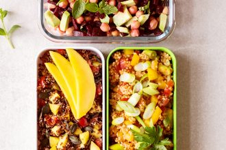 Heavenlynn Healthy – Drei vegane schnelle Salate für unterwegs. Rezepte für Quinoa-Mango-Salat, Kichererbsen-Rote-Bete-Salat und Hirse-Tomaten-Salat