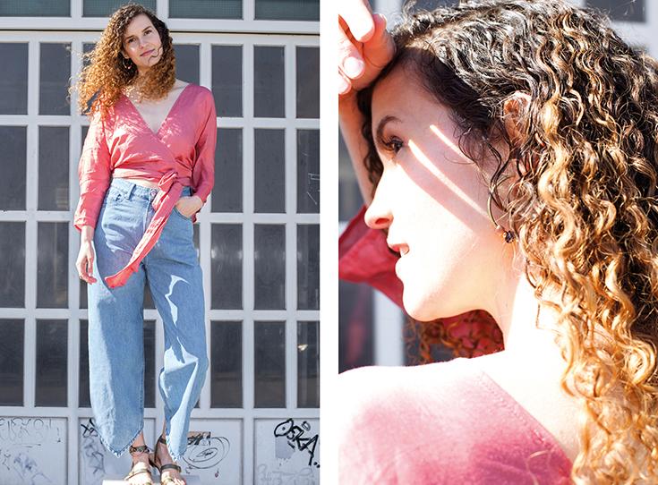 Fashion Revolution Week 2019 #whomademyclothes: Mia Marjanovic von Hey Lila Hey trägt eine Wickelbluse von Jyoti und eine Jeans von Kings of Indigo
