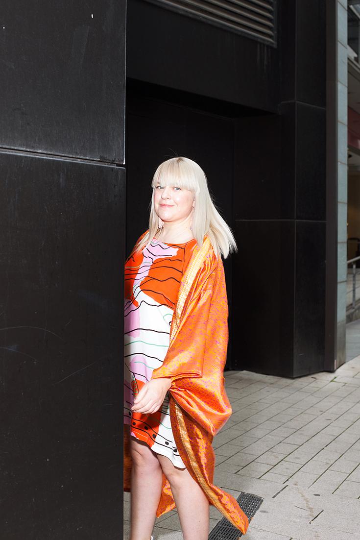 Fashion Revolution Week 2019 #whomademyclothes: Melanie Jeske aka Melodie Michelberger trägt einen Kimono von Cornelia Sun und ein Kleid von Hui Hui