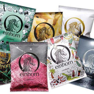 Peppermynta Brandfinder: Einhorn. Einhorn verkauft vegane und nachhaltige Kondome und Periodenprodukte wie Bio Tampons, Menstruationstasse und Bio Slipeinlagen