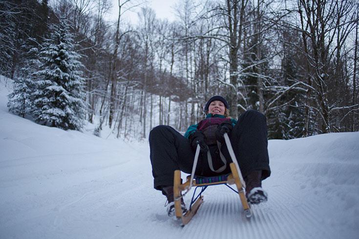 Peppermynta Peppermint, Eco Lifestyle, Slow Travel, Eco Hotel Bären, Bregrenzerwald, Mellau,Vorarlberg, rodeln