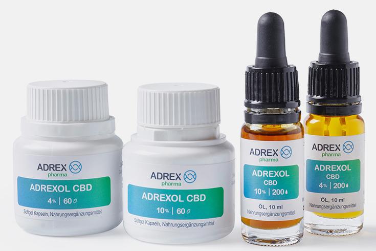 CBD Öl – natürlicher Heilstoff aus der Hanfpflanze: Cannabidiol-Cannabis-Sativa-Bio-Hanf-vegan-Adrexol-Adrex