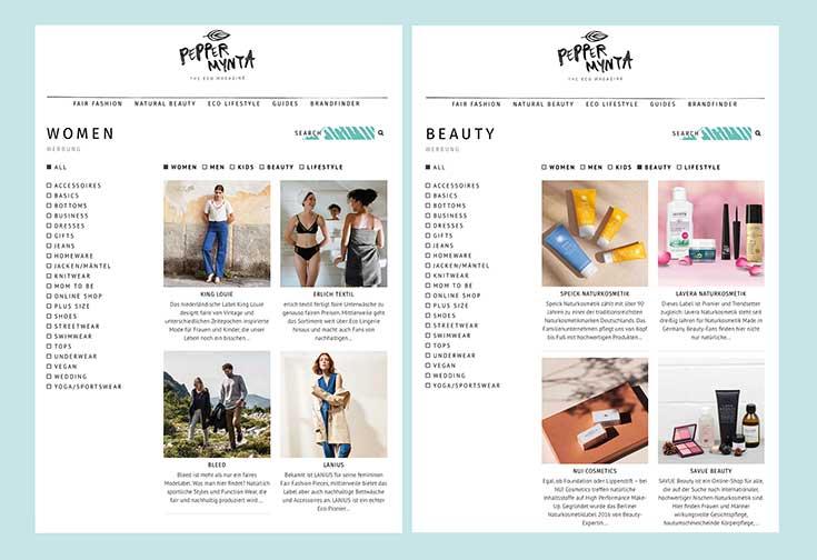 Peppermynta Brandfinder – Finde Fair Fashion, Naturkosmetik und Eco Lifestyle auf einen Klick