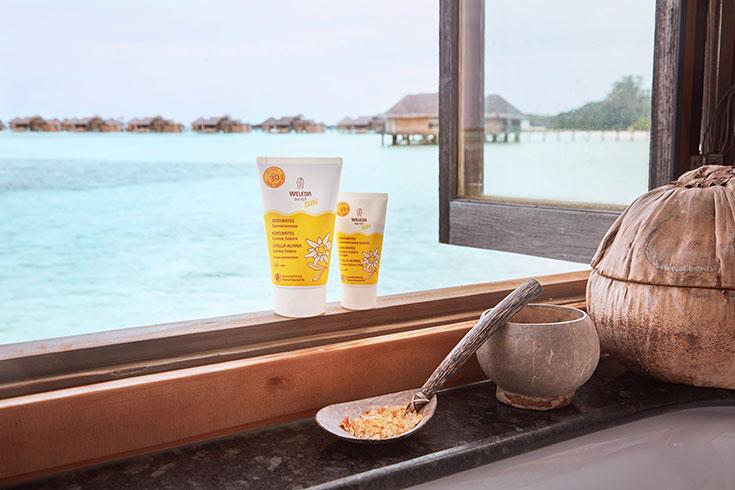 Naturkosmetik-Weleda-Sonnencreme-Sonnenschutz-Edelweiss-Malediven-Gili-Lankanfushi-Watervilla