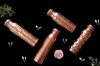 Forrest & Love – Wunderschöne Ayurveda Trinkflasche aus Kupfer, Kupferwasserflasche, Wasserflasche, Flaschen