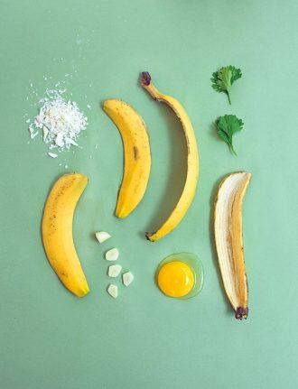 Kochen mit Resten – Rezept für Schnitzel aus Bananenschalen. Die Küche der Achtsamkeit von Tainá Guedes, gegen Lebensmittelverschwendung