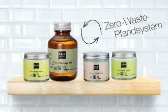 Zero Waste Naturkosmetik – Mehrweg-Verpackungen von Fair Squared, Pfand System