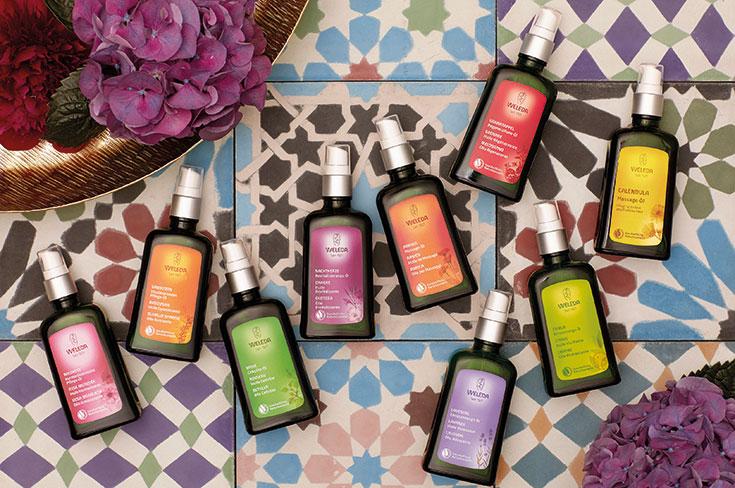 Peppermynta-Peppermint-Naturkosmetik-Weleda-Körperöle-Bio-Körperöl-Massageöl-Granatapfel-Regenerations-Öl-Lavendel-Entspannungs-Öl-vitalisierende-Sanddorn-Öl