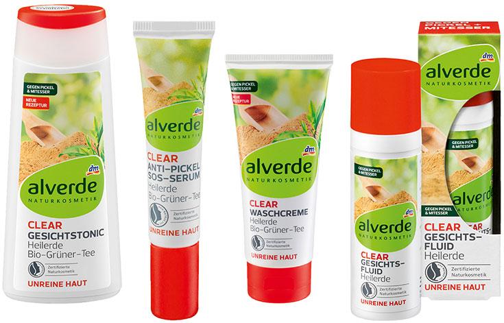 Naturkosmetik für unreine Haut – Natürliche Gesichtspflege gegen Akne & Mitesser: Alverde Clear (DM)