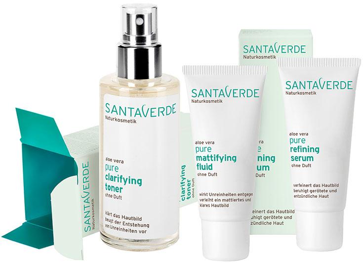 Naturkosmetik für unreine Haut – Natürliche Gesichtspflege gegen Akne & Mitesser: Santaverde pure
