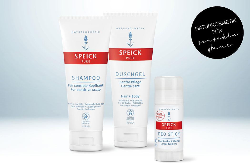 Speick Pure – milde Naturkosmetik für sensible Haut: Duschgel, Shampoo, Deo, Deodorant für empfindliche Haut mit Rozazea, Rötungen, Schuppenflechte und Entzündungen
