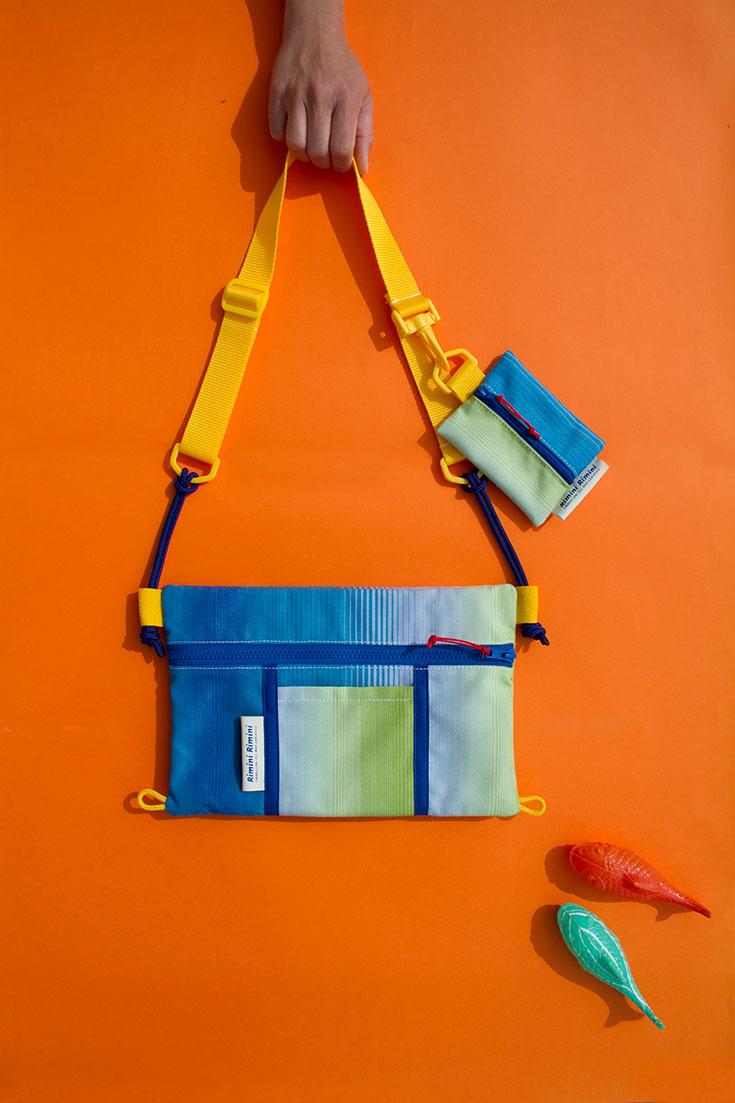 Rimini Rimini Bags – Coole Upcycling Taschen aus alten Sonnenschirmstoffen. Aus gebrauchten und ausrangierten Sonnenschirmen, fertigt das Label Rucksäcke, Geldbeutel, Laptophüllen, Bauchtaschen, Shopper